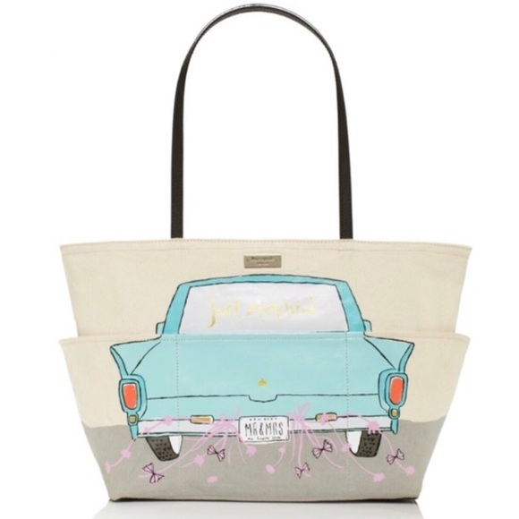 kate spade Handbags - Kate Spade Just Married Cream & Tiffany Blue Tote